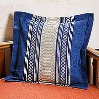 Cotton cushion cover, 'Royal Blue Temptation' - Handwoven Cotton Cushion Cover in Royal Blue from Mexico