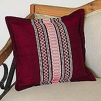 Cotton cushion cover, 'Maroon Style' - Handwoven Cotton Cushion Cover in Maroon from Mexico