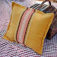 Cotton cushion cover, 'Amber History' - Handwoven Cotton Cushion Cover in Amber from Mexico