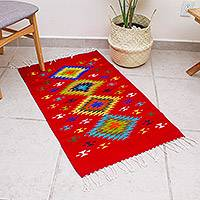 Wool area rug, 'Claret Rhombi' (2x3.5) - Zapotec Wool Area Rug in Red from Mexico (2x3.5)