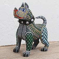 Wood alebrije sculpture, 'Strong Canine' - Hand-Painted Wood Alebrije Canine Sculpture from Mexico