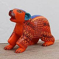 Wood alebrije figurine, 'Desert Bear' - Wood Alebrije Bear Figurine in Orange from Mexico
