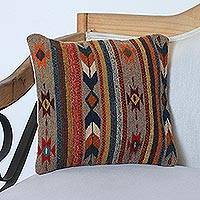 Wool cushion cover, 'Desert Sand' - Wool Cushion Cover with Stripes and Geometric Motifs