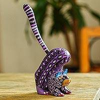 Wood alebrije figurine, 'Fantastic Stretch' - Wood Alebrije Cat Figurine in Purple from Mexico
