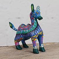 Wood alebrije figurine, 'Vibrant Camel' - Colorful Wood Alebrije Camel Figurine from Mexico