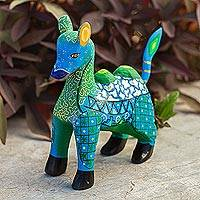 Wood alebrije figurine, 'Blue-Green Camel' - Wood Alebrije Camel Figurine in Green and Blue from Mexico