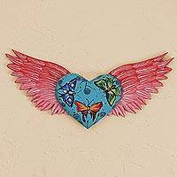 Wood wall sculpture, 'Flying Butterfly Heart' - Heart-Shaped Butterfly Motif Wood Wall Sculpture from Mexico
