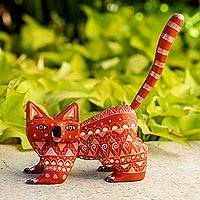 Wood alebrije figurine, 'Walking Cat' - Wood Alebrije Cat Figurine in Red from Mexico