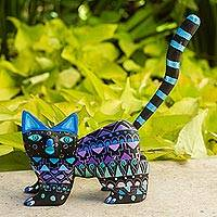 Wood alebrije figurine, 'Nocturnal Cat' - Hand-Painted Wood Alebrije Cat Figurine from Mexico
