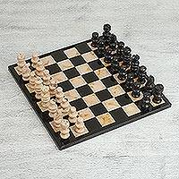 Marble chess set, 'Brown Challenge' (13 inch) - Brown and Black Marble Chess Set from Mexico (13 Inch)