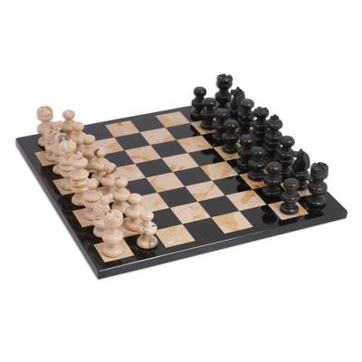 Brown and Black Marble Chess Set from Mexico (13 Inch)