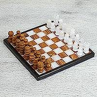 Onyx and marble mini chess set, 'Cafe Challenge' - Onyx and Marble Mini Chess Set in Brown and Ivory