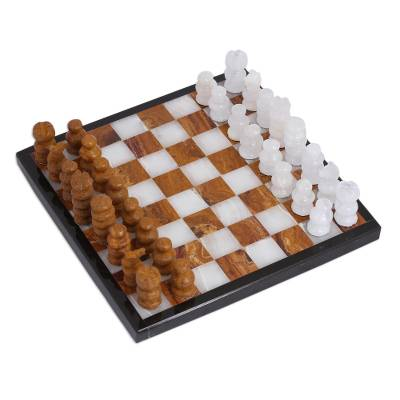 Onyx and Marble Mini Chess Set in Brown and Ivory