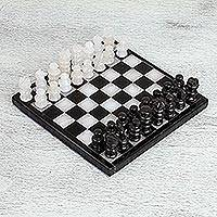Onyx and marble chess set, 'Black and Ivory Challenge' (7.5 in.) - Onyx and Marble Chess Set in Black and Ivory (7.5 in.)