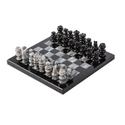 Marble Chess Set in Black and Grey from Mexico (7.5 in.)