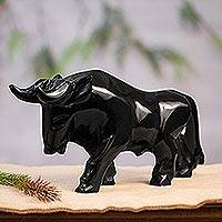 Marble figurine, 'Dark Bull' - Marble Bull Sculpture in Black from Mexico