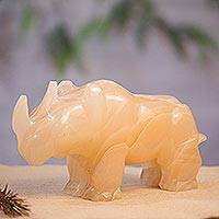 Marble figurine, 'Earth Rhino' - Handmade Marble Rhino Figurine from Mexico