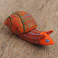 Wood alebrije figurine, 'Intricate Snail' - Wood Alebrije Figurine of an Orange Snail from Mexico