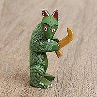 Wood alebrije figurine, 'Coyote Saxophonist' - Wood Alebrije Figurine of a Green Coyote with a Saxophone