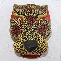 Wood mask, 'Yellow Jaguar' - Hand-Painted Wood Jaguar Mask in Yellow from Mexico