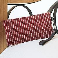 Wool cosmetics bag, 'Dashing' - Brick Red Handwoven Wool Cosmetics Case with Wrist Strap