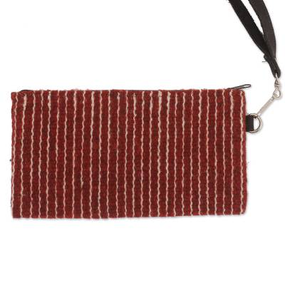 Brick Red Handwoven Wool Wristlet