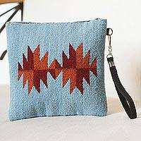 Wool wristlet, 'Modern Sunburst' - Blue Dark Red Orange Fret Starburst Handwoven Wool Wristlet