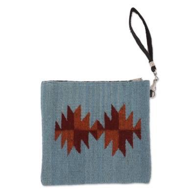 Blue Dark Red Orange Fret Starburst Handwoven Wool Wristlet
