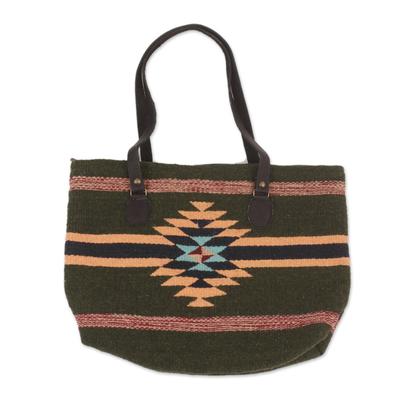 Dark Green and Orange Fret Motif Handwoven Wool Tote Bag
