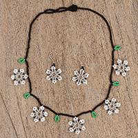 Glass beaded jewelry set, 'Snowy Dance' (Mexico)