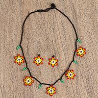 Glass beaded jewelry set, 'Fiery Bloom' (Mexico)
