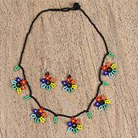 Glass beaded jewelry set, 'Colorful Flowers' - Multicolored Glass Beaded Jewelry Set from Mexico