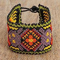 Glass beaded wristband bracelet, 'Huichol Fashion' - Huichol Glass Beaded Wristband Bracelet from Thailand