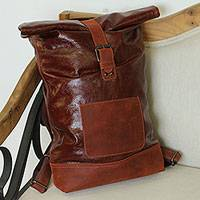 Leather backpack, 'Daytripper' - Brown Pigskin Leather Roll-Top Traveler's Backpack