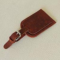 Pigskin leather luggage identification tag, 'Known' - Handcrafted Brown Pigskin Leather Luggage Identification Tag