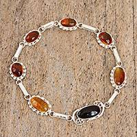 Amber link bracelet, 'Timeless Style' (Mexico)