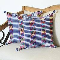 Cotton cushion covers, 'Triangle Stripes in Blue' (pair) - Striped Geometric Cotton Cushion Covers in Blue (Pair)