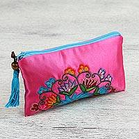 Embroidered coin purse, 'Florid Life' - Floral Coin Purse Embroidered with Silk from Mexico