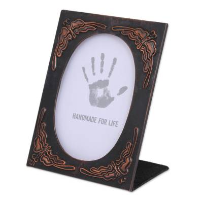 Butterfly Pattern Copper and Wood Photo Frame (4x6)