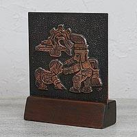 Copper and wood relief panel, 'Pre-Columbian Ritual' - Copper and Cedar Wood Relief Panel of a Pre-Columbian Ritual