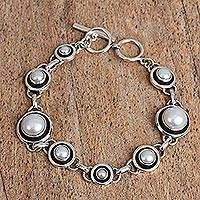 Cultured pearl link bracelet, 'Dark Circles' - Circular Cultured Pearl Link Bracelet from Mexico