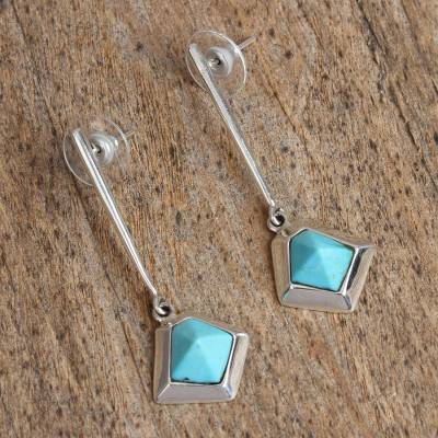 Turquoise dangle earrings, 'Blue Geometry' - Geometric Turquoise Dangle Earrings from Mexico