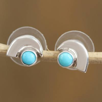 Turquoise stud earrings, 'Taxco Arch' - Taxco Turquoise Stud Earrings from Mexico