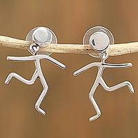 Sterling silver dangle earrings, 'Taxco Joy' - Taxco Sterling Silver Dangle Earrings from Mexico