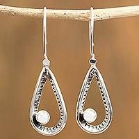 Cultured pearl dangle earrings, 'Taxco Loops' - Cultured Pearl Taxco Dangle Earrings from Mexico