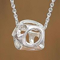 Featured review for Sterling silver pendant necklace, Form of Fortune