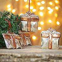 Sterling silver accented copper ornaments, 'Christmas Presents' (set of 4) - Sterling Silver Accent Copper Present Ornaments (Set of 4)