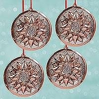 Sterling silver accented copper ornaments, 'Christmas Eve Flowers' (set of 4) - Sterling Silver Accent Copper Flower Ornaments (Set of 4)