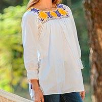 Cotton blouse, 'Stunning Bouquet' - Cotton Blouse with Embroidered Floral Motifs from Mexico