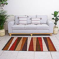 Wool area rug, 'Earth Rays' (4x6) - Handwoven Earth-Tone Wool Area Rug from Mexico (4x6)